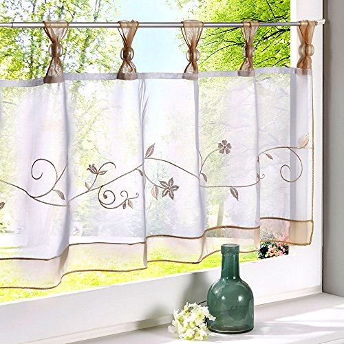 Uphome Embroidered Floral Window Curtain