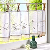 Kitchen Bay Window Curtains Ideas Uphome 1pcs Cute Embroidered Floral Window Tier Curtain - Kitchen Tab Top Semi Sheer Curtain (57