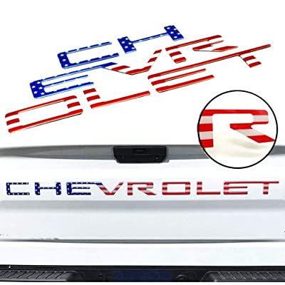 Tailgate Inserts Letters for 2020 2020 Chevrolet Silverado, 3D Raised & Strong Adhesive Decals Letters, Tailgate Emblems Inserts Letters (American Flag): Automotive