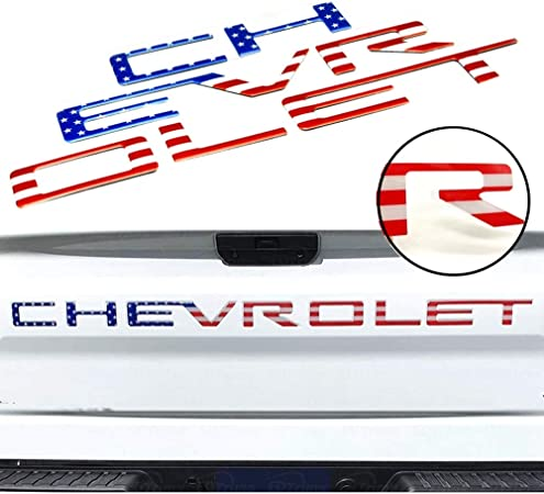 3M Adhesive /& 3D Raised Tailgate Letters for 2019 2020 Chevrolet Silverado Accessories Funsport Tailgate Insert Letters American Flag
