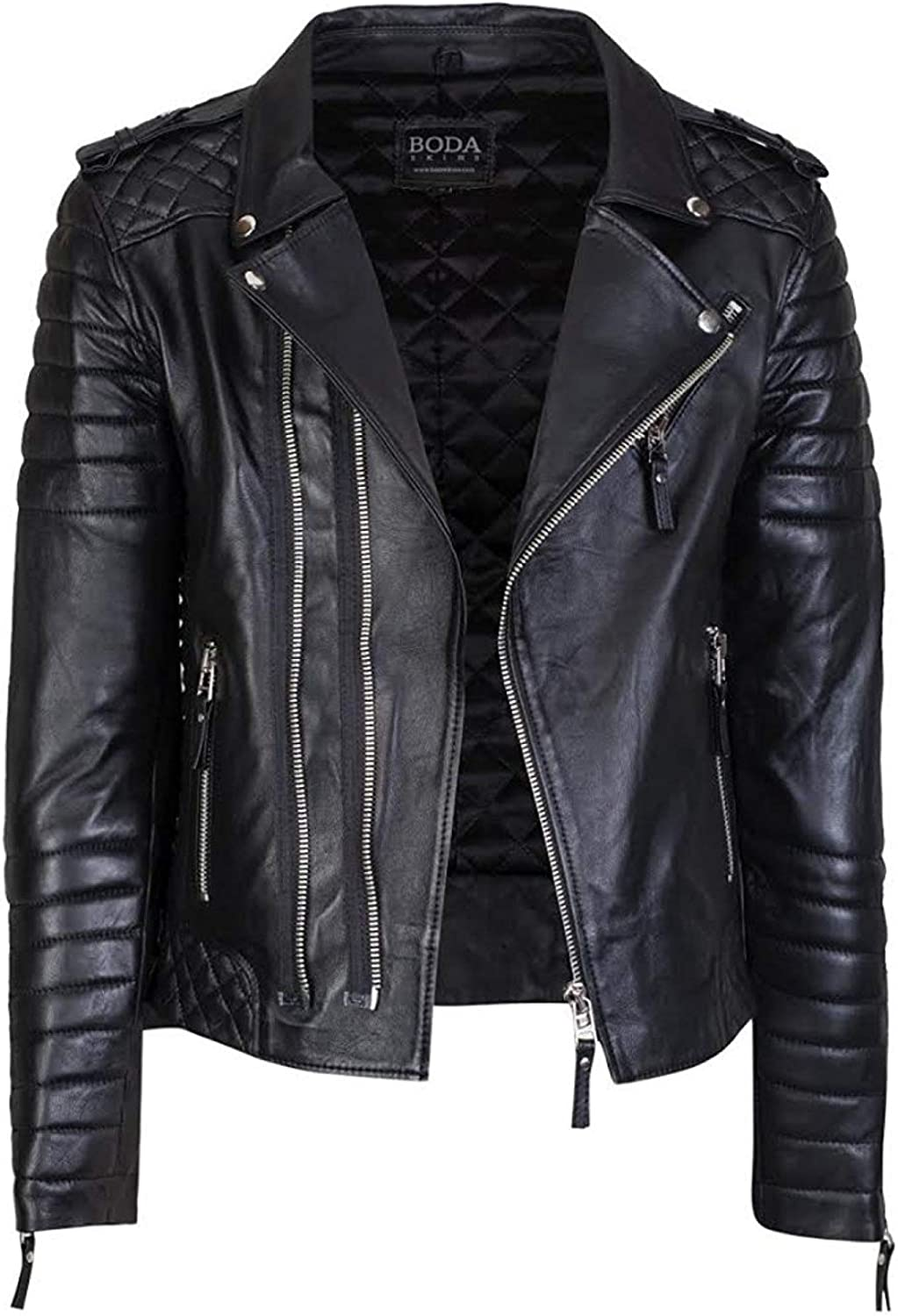 Mens Black Genuine Lambskin Leather Quilted Jacket