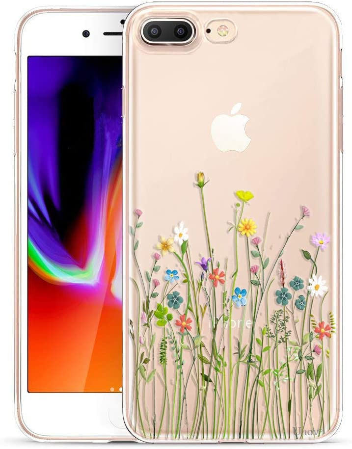 Unov Compatible Case Clear with Design Embossed Floral Pattern TPU Soft Bumper Shock Absorption Slim Protective Case for iPhone 7 Plus iPhone 8 Plus 5.5 Inch(Flower Bouquet)