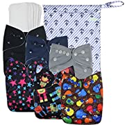 Wegreeco Washable Reusable Baby Cloth Pocket Diapers 6 pack + 6 Bamboo Inserts (with 1 wet bag,Boy Prints )