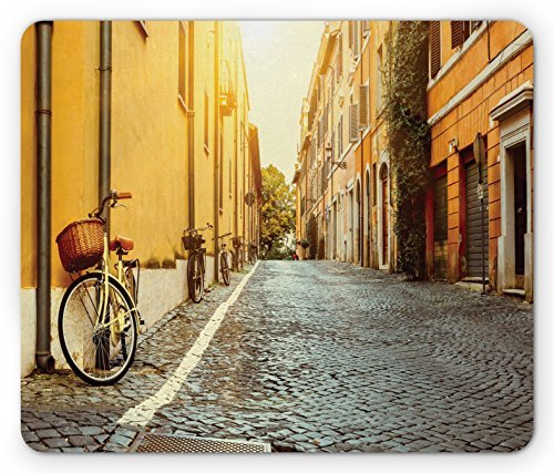 Lunarable Wanderlust Mouse Pad, Street in Rome Italy Bicycle Travel Honeymoon Destinations, Rectangle Non-Slip Rubber Mousepad, Standard Size, Yellow Blue