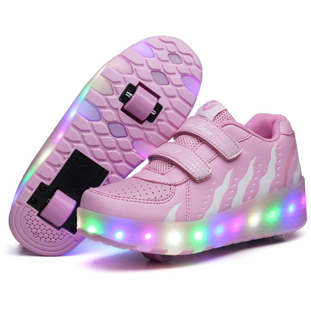 UBELLA Kids Girls Boys LED Light Strap Closure Double Wheels Roller Skate Sneakers