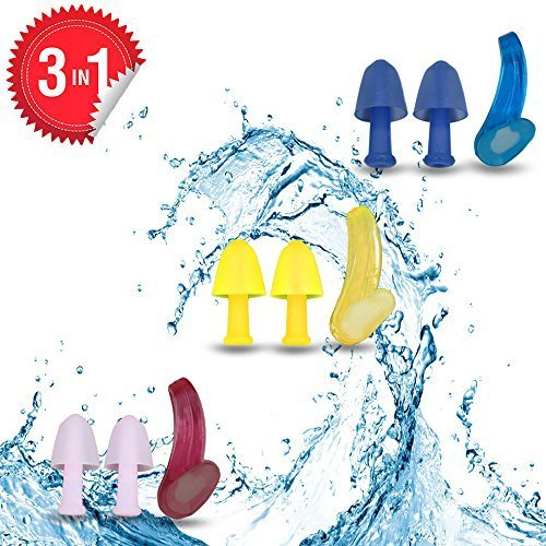Swimming Nose clips and Earplugs Mega set of 3 Family Pack Pro Edition By BluPond®