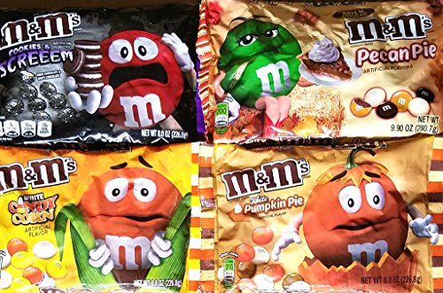 Cookies & Screem, Pecan Pie, White Candy Corn, White Pumpkin Pie M&M's - Halloween Fall Holiday Limited Edition Variety Pack of -