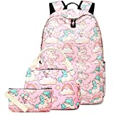 BLUBOON Backpack for School Girls Teens Bookbag Set Women Laptop Casual Daypack Lunch Tote Bag Pencil Case (Pink/Unicorn Set)