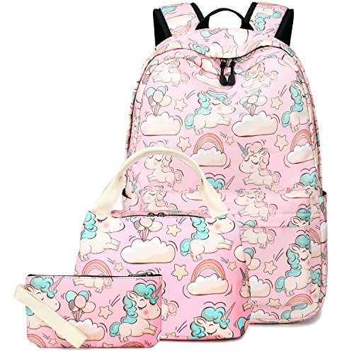 Womens School Box (BLUBOON Backpack for School Girls Teens Bookbag Set Women Laptop Casual Daypack Lunch Tote Bag Pencil Case (Pink/Unicorn Set))