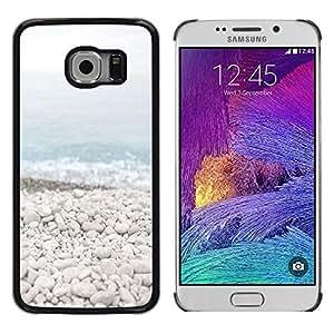 FECELL CITY // Duro Aluminio Pegatina PC Caso decorativo Funda Carcasa de Protección para Samsung Galaxy S6 EDGE SM-G925 // Beach Stones Waves Blue Sea Horizon