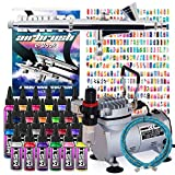 PointZero Complete Airbrush Nail Art Kit - 24 Color 480 Stencil Set