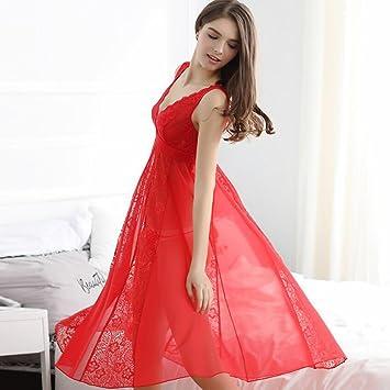 Pijamas de Sexy Vestido de mujer Thin Temptation Sleeping Skirt Homewear Falda larga de dos piezas