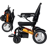 """EBEI JBH01-Foldable Compact Electric Wheelchair Deluxe Powerful Dual Motor Mobility Aid Power Chair - Weighs only 50 lbs with Battery - Supports 300 lbs, 12"""" Rigid Rubber Tyre Wheel 2 Batteries+2yrs Warranty"""