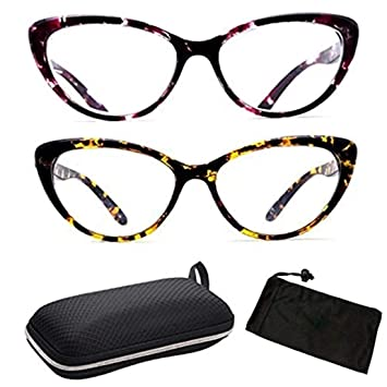 36c6fe645214 Amazon.com  2 Pairs Leopard Animal Pattern Designer Cat Eyes Women ...