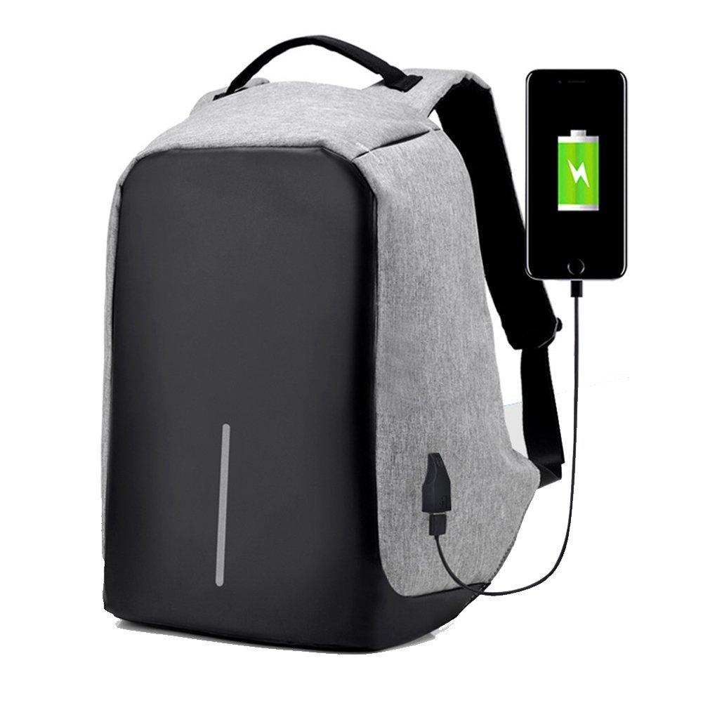 防水コンピュータショルダーバッグ盗難防止Daypack with USBケーブル、充電ポートノートパソコンバックパック グレー BACC004  グレー B073Y4SG4L