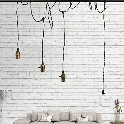 Supmart Vintage Triple Light Sockets Pendant Hanging Light Cord Kit Plug-in Light Fixture with On/Off Switch E26/E27 Base Twisted Black Textile Cord UL Listed (3 Bulb Hanging Light)