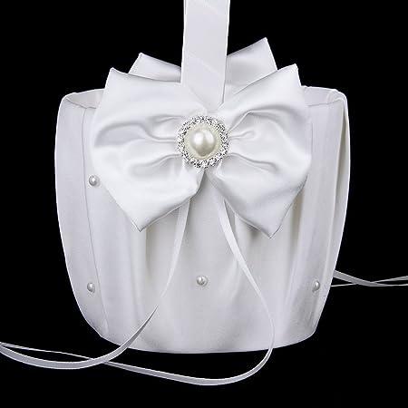 Blanco REFURBISHHOUSE Cesta de Chica de Flor de Boda de Cuentas de Saten Decoracion de Flor de Diamante de Imitacion