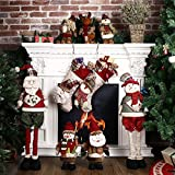 "Codream 18"" Christmas Stockings Burlap Stocking 3D Christmas Snowman Classic Holiday Stocking Festive Adorable Hanging Decorations"
