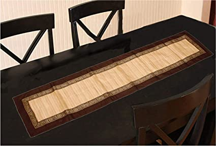 Kuber Industries Patch Design Silk Piece Dinning Table Runner - Brown