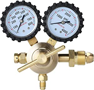 RIIAI Nitrogen Regulator with 0-600PSI 0-800 PSI Delivery Pressure, CGA580 Inlet Connection and 1/4-Inch Male Flare Outlet Connection Durable Brass Accurate and Dependable - HVAC Purging Solid Brass