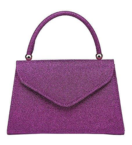 Purse Hard Handbag Handle Retro Compact Ladies Evening Purple Top Shimmer Glitter pw8Fqzd