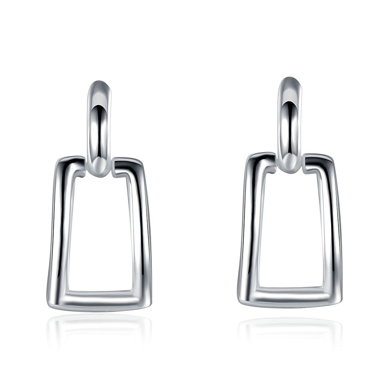 Gnzoe Silver Plated Women Stud Earrings Silver Hollow Rectangle