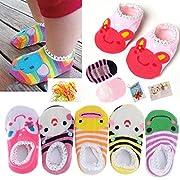 FlyingP 5Pairs Baby Toddler Anti Slip Skid Socks for 6-18 Months Cute Animal Stripes No-Show Crew Boat Socks Baby Socks Footsocks sneakers