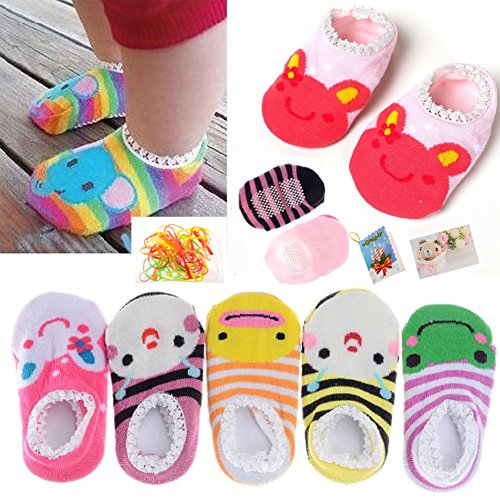 FlyingP 5Pairs Baby Toddler Anti Slip Skid Socks for 6-18 Months Cute Animal Stripes No-Show Crew Boat Socks Baby Socks Footsocks sneakers ()