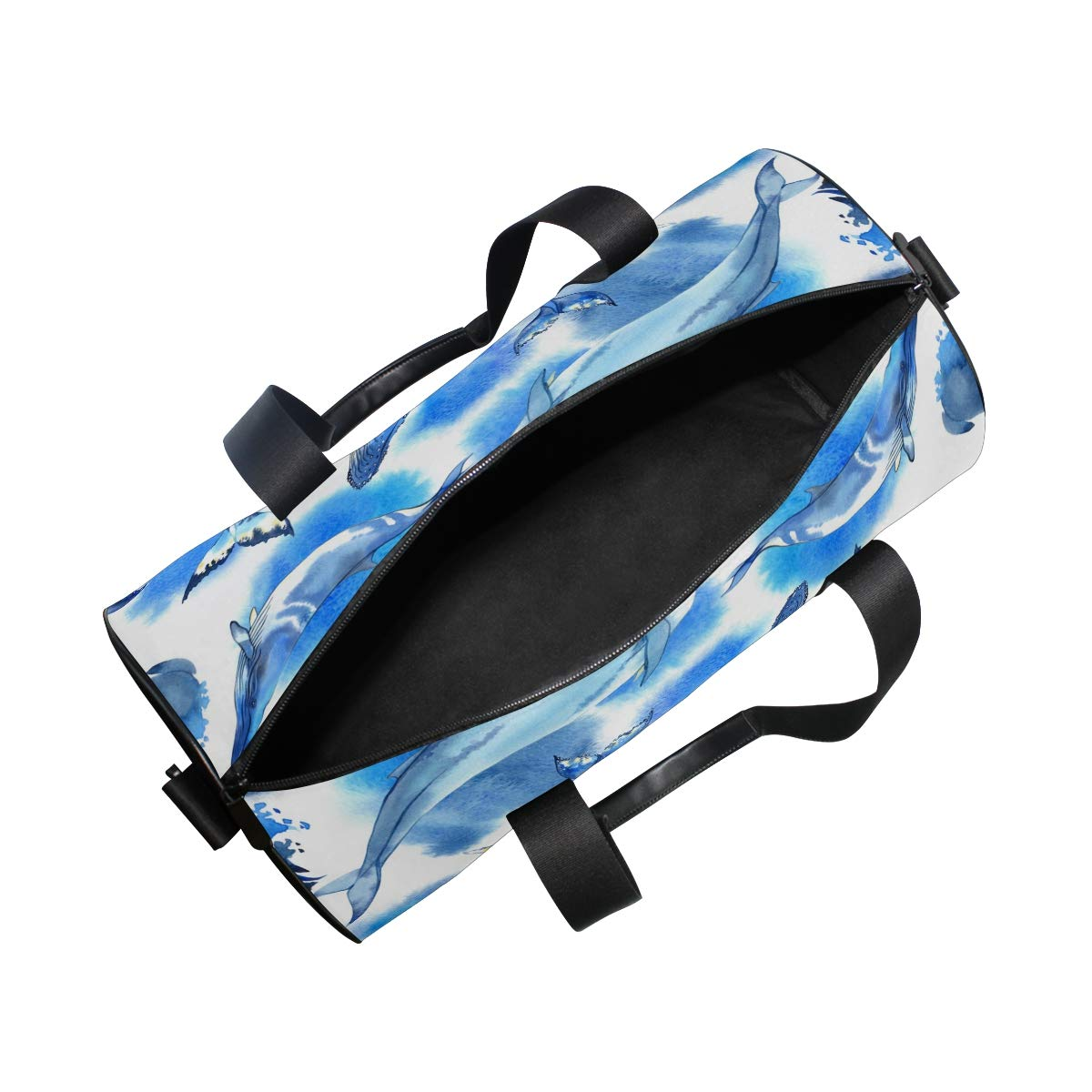 Sea Whale Yoga Sports Gym Duffle Bags Tote Sling Travel Bag Patterned Canvas with Pocket and Zipper For Men Women Bag by EVERUI (Image #5)