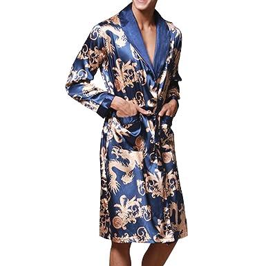 Herren Kimono Morgenmantel Satin Bademäntel Nachtwäsche mit Drache ...