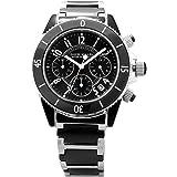 [ダニエル・ミューラー]DANIEL MULLER 腕時計 ステンレス&ブラックセラミック カレンダー表示 クロノグラフ メンズウォッチ DM-1004BK メンズ