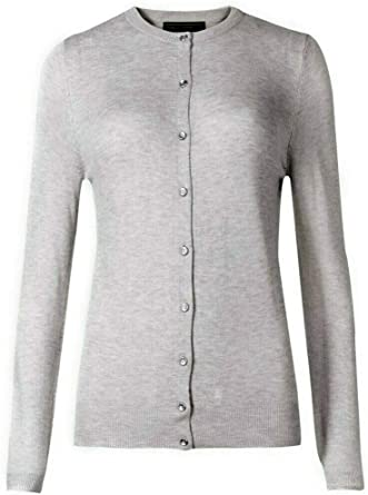 Brand New Ex Marks And Spencer Collection Black Round Neck Cardigan
