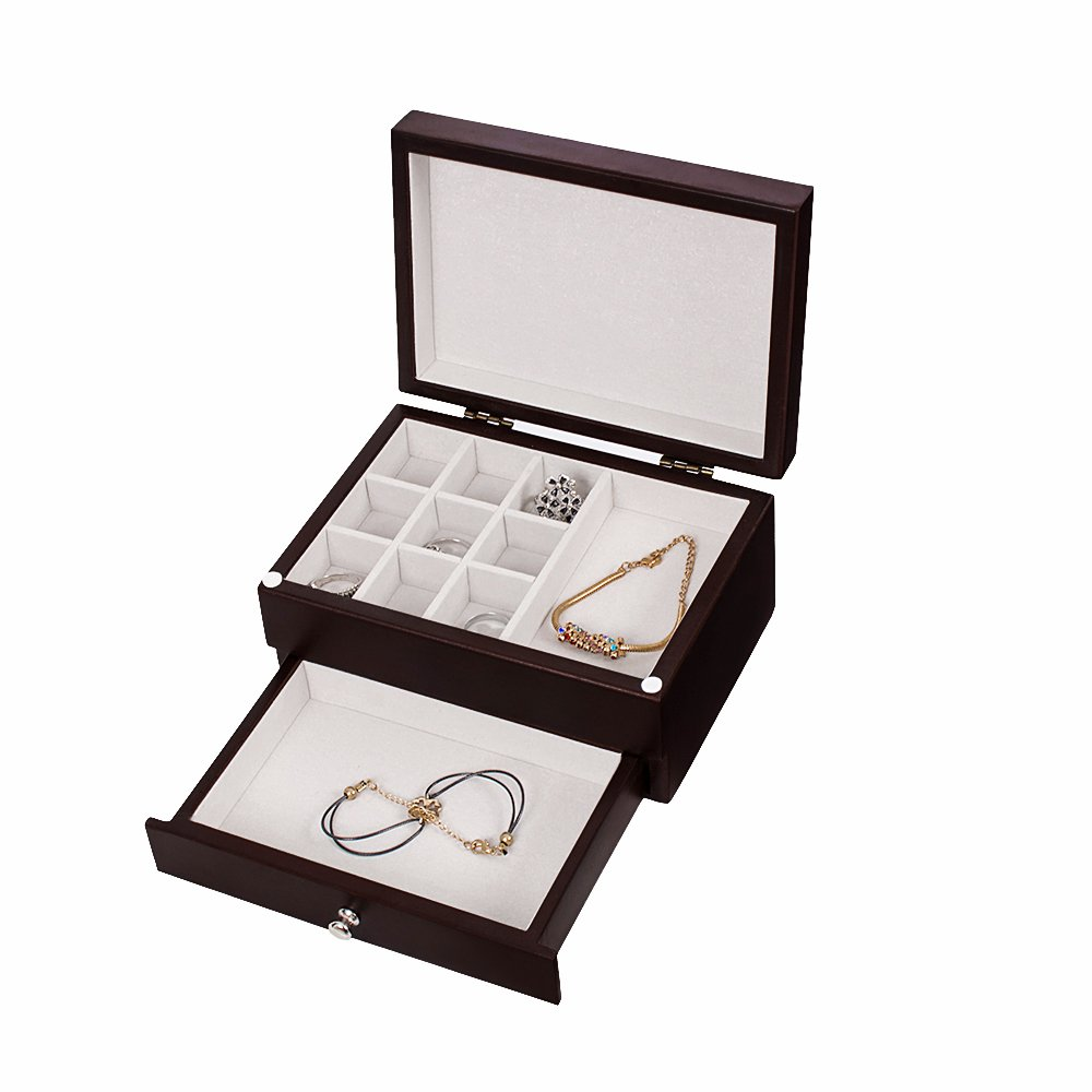 ZGZD Wooden Jewelry Box Makeup and Accessories Organizer Girls Ring Storage with 4 Drawers and Swing Door White Finish