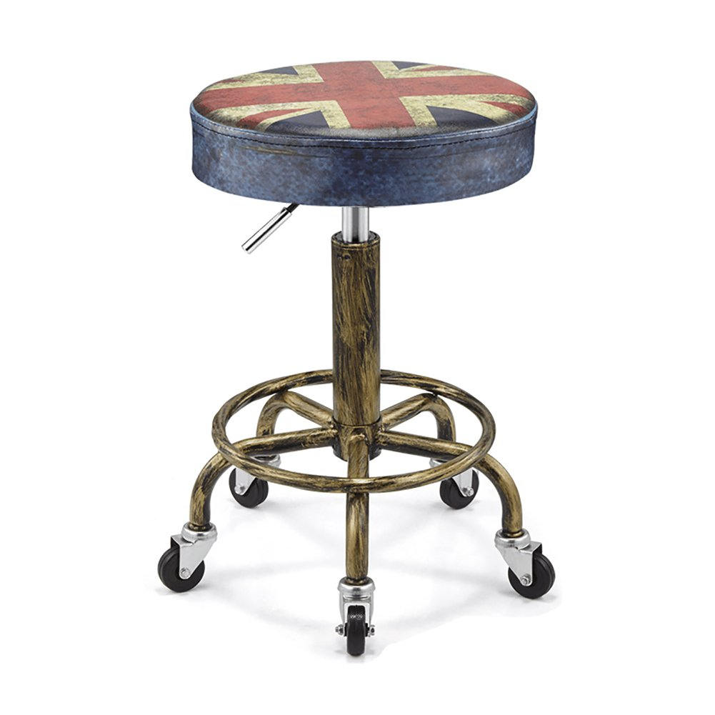Mesurn JP ビンテージ防爆美容椅子回転PUレザー印刷車椅子の美しさのスツール作業ベンチを持ち上げることができます (色 : 1, サイズ さいず : T32cm) B07F5GSX26 T32cm 1 1 T32cm