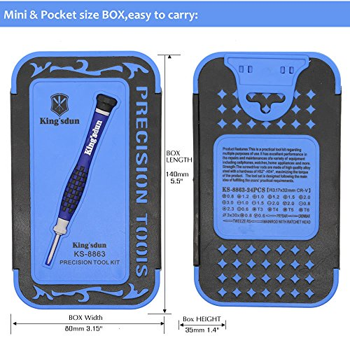 Kingsdun 24pcs Iphone 7 Repair Tool Kit for Apple iPhone 6/6S/5/5C/5S/4S, Ratcheting Screwdriver Bit Set with Metal Spudger Opening Pry Tools & ESD Tweezers in Mini Pocket Box by Kingsdun (Image #7)