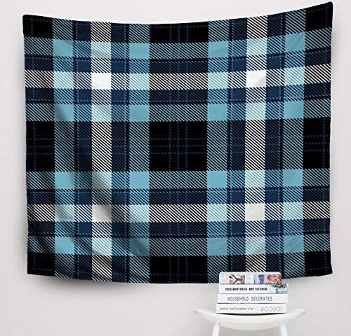 - Crannel Christmas Pattern Black Blue White Plaid Flannel Background Trendy Tiles Wallpapers Tapestry 50x60 Inches Wall Art Tapestries Hanging for Dorm Room Living Home Decorative
