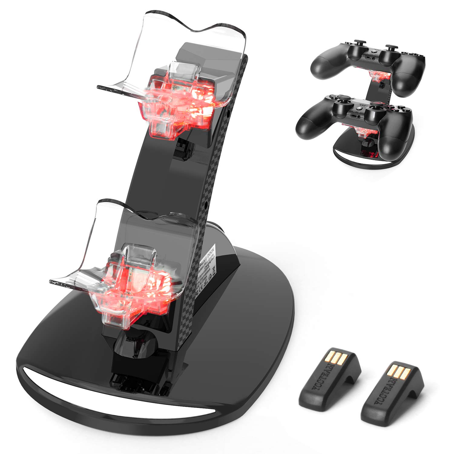 PS4 Controller Charger, PS4 Controller Charging Station Wireless Charger with 2 USB Charging Cable【Advanced Version】, PS4 Controller Charging Dock for PS4/PS4 Pro /PS4 Slim Controller by YCCTEAM