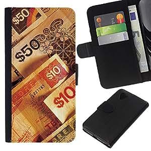 KingStore / Leather Etui en cuir / LG Nexus 5 D820 D821 / Números de dinero riqueza rico símbolo 50