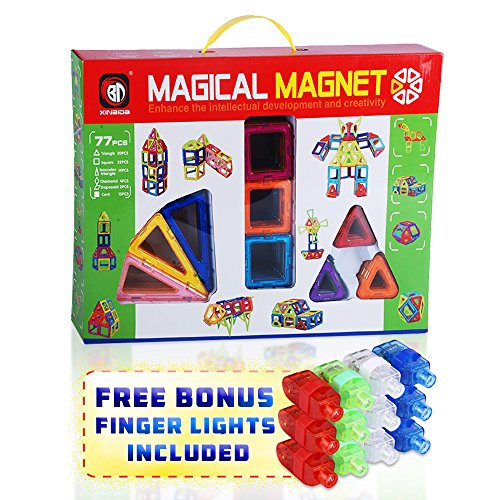 ing Learning Toy Set for Kids - Magnetic Shapes for All Children and Involved Parents to Enhance Creative Thinking Spatial Logic Color Shapes Training Critical Thinking - 77pc ()
