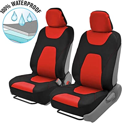 Motor Trend OS274 Red & Black AquaShield Car Seat Covers, Front – 3 Layer Waterproof Neoprene Material with Modern Sideless Design, Universal Fit for Auto Truck Van SUV: Automotive