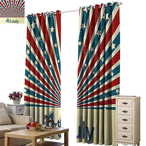 Homrkey Printed Curtain 4th of July Retro Style Stars and Stripes Sunburst Design Proud Day of American Nation Blackout Draperies for Bedroom Living Room W84 xL96 Multicolor
