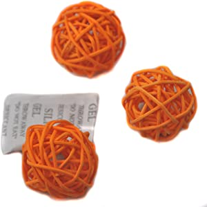Set of 10pcs Wicker Rattan Balls Table Wedding Party Christmas Decoration (Diameter 2 Inch, Orange)