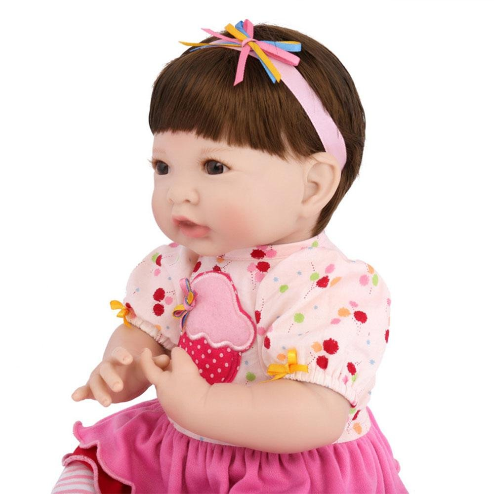 LINAG Muñeca Renacida Bebé Realista Vinilo Silicona Suave Fashion Lifelike Juguetes Doll Toque Cumpleaños Jugar Casa Regalo Niña Lindo Educación Temprana Regalo Cuerpo Tela 35cm