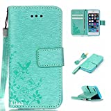 iPhone SE Case,iPhone 5S Case,iPhone 5 Case,Alkax Premium PU Leather Wallet[Kickstand]Magnet Flip Cover with Credit Card ID Card Slots[Wrist Strap]for Apple iPhone SE 5S+One Free Stylus Pen(Teal)