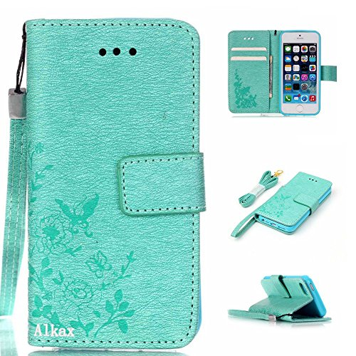iPhone SE Case,iPhone 5S Case,iPhone 5 Case,Alkax Premium PU Leather Wallet[Kickstand]Magnet Flip Cover with Credit Card ID Card Slots[Wrist Strap]for Apple iPhone SE 5S+One Free Stylus Pen(Teal) (Vintage Owl Iphone 4 Case compare prices)