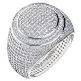 Men's Hip Hop Silver Tone All Around CZ Band Double Round Style Pinky Ring SJ 15644 S (7)