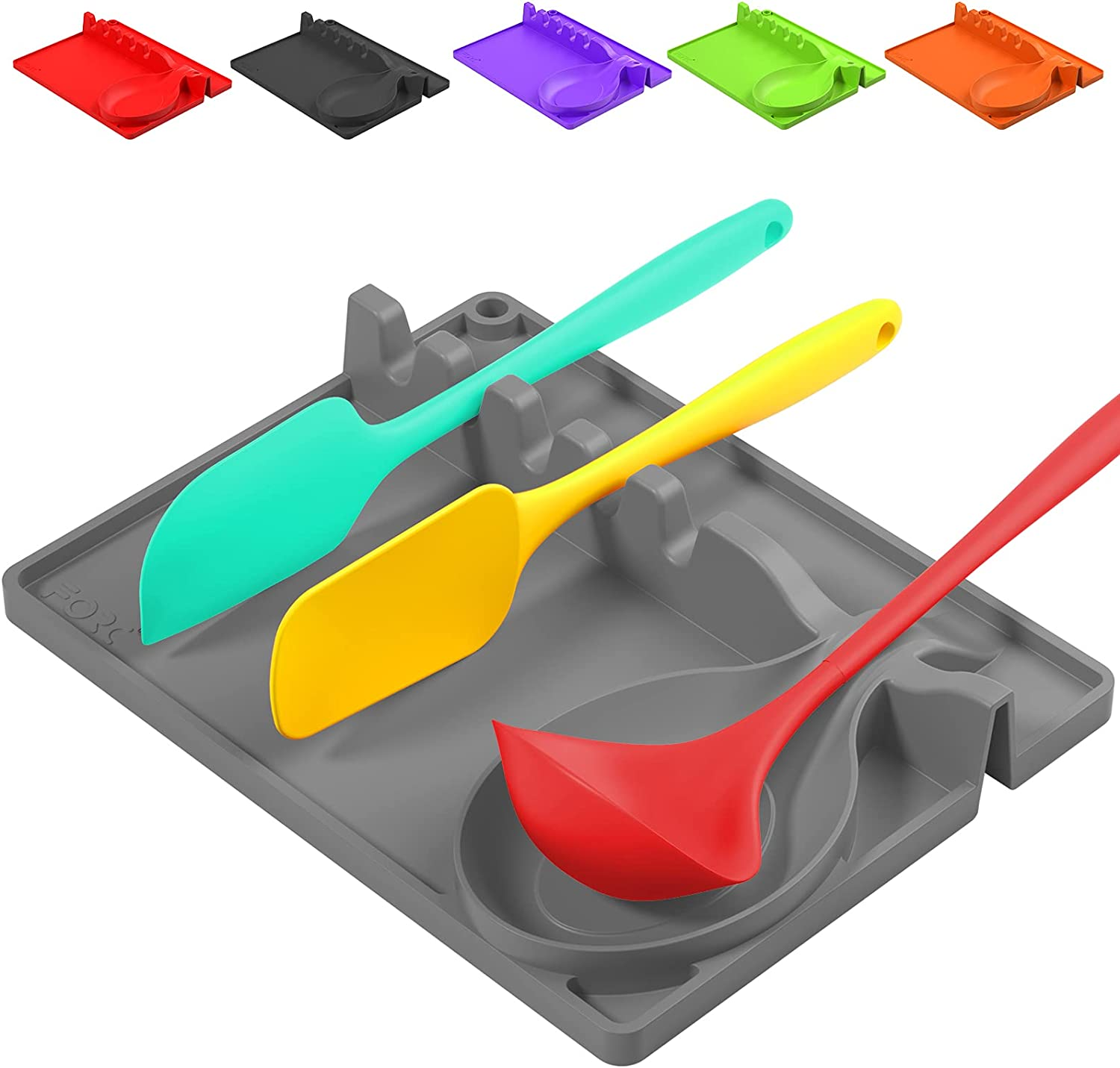 Ladle /& Spoon Holder Kitchen Utensil Rest with Drip Pad Heat-Resistant Novsix Silicone Soup Spoon Holder 2 Pack BPA-Free Spoon Rest /& Spoon Holder for Stove Top