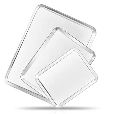 Bastwe Baking Sheet Cookie Sheet Set of 3, Commercial Grade Stainless Steel Baking Pan, Professional Bakeware Oven Tray, Healthy & Non-Toxic, Mirror Finish & Rust Free, Easy Clean & Dishwasher Safe