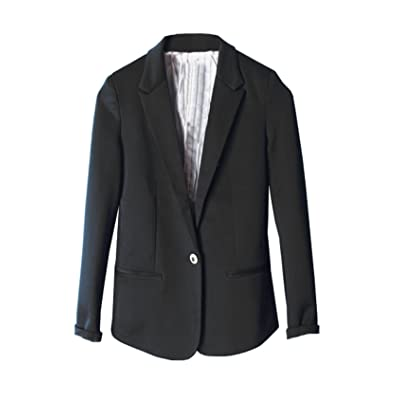 (ベストギフト)Bestgift 全6色 レディース ファッション ワンボタン ブレザー ジャーケット ブラック M