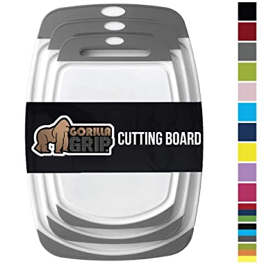 Gorilla Grip Original Reversible Cutting Board, 3 Piece, BPA Free, Dishwasher Safe, Juice Grooves, Larger Thicker Boards, Easy Grip Handle, Non Porous, Extra Large, Kitchen, Set of 3, Gray